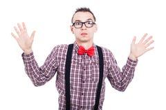 Shocked nerd man. Portrait of shocked nerd man, isolated on white background Stock Photo