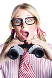 Surprised Nerd Looking To Future With Binoculars Stock Image
