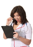 Shocked nurse with a file Royalty Free Stock Photography