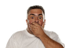 Shocked obese man. Covering his face with his hand on a white background Royalty Free Stock Image