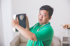 Shocked obese man while looking at a weight scale Royalty Free Stock Image