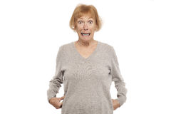 Shocked old woman Royalty Free Stock Photo