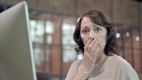 Shocked Old Woman Wondering in Awe. The Shocked Old Woman Wondering in Awe stock video footage