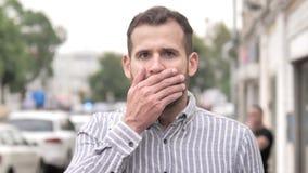 Shocked, outdoor wondering beard casual man stock footage