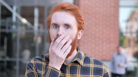 Shocked, Outdoor Wondering Redhead Beard Young Man stock video