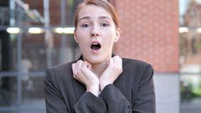 Shocked, Outdoor Wondering Young Businesswoman stock video