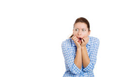 Shocked and overwhelmed woman Stock Images