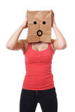 Shocked paper bag girl Stock Images
