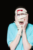 Shocked Patient Nursing A Broken And Bloody Head Stock Image