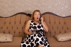 Shocked phone call Royalty Free Stock Images