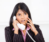 Shocked by phone call Royalty Free Stock Photography