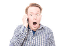 Shocked phone call Royalty Free Stock Photo