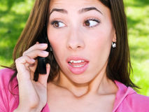 Shocked Phone Woman Royalty Free Stock Photography