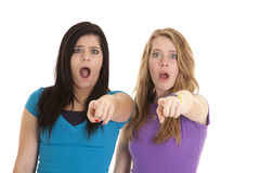Shocked point teens Royalty Free Stock Photos