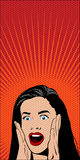 Shocked Pop Art Woman. Vector Illustration Royalty Free Stock Photos