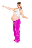 Shocked pregnant woman holding measure tape Royalty Free Stock Image