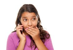 Shocked Pretty Hispanic Girl On Cell Phone Stock Photos