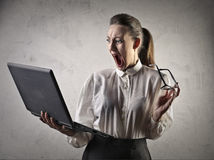 Shocked receptionist Royalty Free Stock Photography