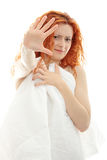 Shocked redhead woman Royalty Free Stock Photography