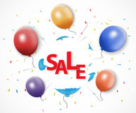 Shocked sale concept with burst balloon Royalty Free Stock Photos