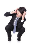 Shocked and scared business man Royalty Free Stock Photography