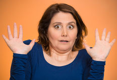 Shocked scared middle aged woman Stock Photography