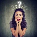 Shocked scared woman looking at camera has many questions Royalty Free Stock Photos