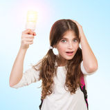 Shocked schoolgirl with lamp Royalty Free Stock Images