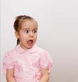 Shocked screaming little girl. With opened mouth Stock Images