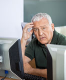Shocked Senior Man At Computer Desk In Classroom Royalty Free Stock Photography