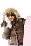 Shocked snowboarder Stock Photography
