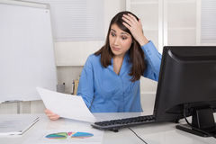 Shocked and stressed businesswoman looking costs analyze. Stock Image