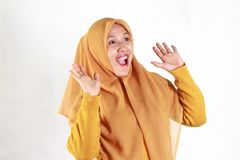Shocked, stressful , tired and frustrated face expression. Of Muslim asian woman wearing hijab isolated over white background stock images