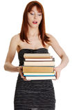 Shocked student girl  Royalty Free Stock Image