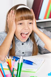 Shocked student girl in school Stock Images