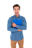 Shocked student holding clipboard and screams. Out loud on white background Stock Photos