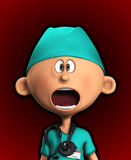 Shocked Surgeon. Surgeon that has a very shocked and worried look on his face Royalty Free Stock Image