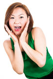 Shocked and surprised beautiful woman. Stock Photos