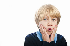 Shocked and surprised boy Royalty Free Stock Image