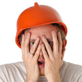 Shocked and surprised builder craftsman Royalty Free Stock Photography