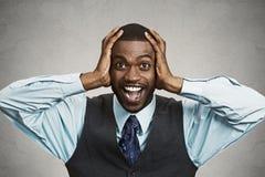 Shocked, surprised business man Royalty Free Stock Image