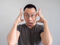 Shocked and surprised freelance man with funny face. stock photos