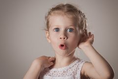 Shocked and surprised little girl stock photography