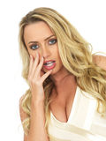 Shocked Surprised or Startled Young Attractive Blonde Woman Royalty Free Stock Images