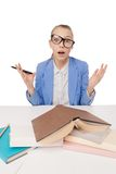 Shocked, surprised student wearing glasses Royalty Free Stock Photos