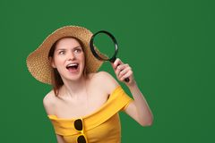 Shocked surprised woman showing blank copy space Royalty Free Stock Photos