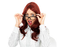 Shocked Surprised Young Business Woman Wearing Glasses Royalty Free Stock Photography