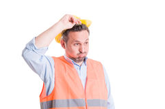Shocked, tired or surprised worker or engineer Royalty Free Stock Photo