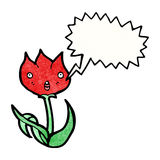 Shocked tulip cartoon Royalty Free Stock Photo