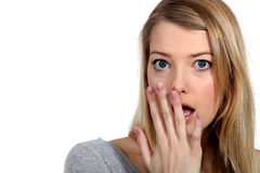A shocked woman royalty free stock images